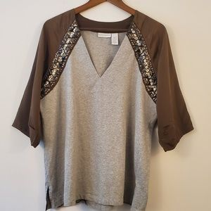 Soft Surroundings XL gray brown jeweled top